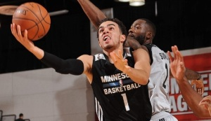 LAS VEGAS, NV - JULY 13: Tyus Jones #1 of the Minnesota Timberwolves shoots the ball against the San Antonio Spurs during the 2016 NBA Las Vegas Summer League game on July 13, 2016 at the Cox Pavillion in Las Vegas, Nevada. NOTE TO USER: User expressly acknowledges and agrees that, by downloading and or using this photograph, User is consenting to the terms and conditions of the Getty Images License Agreement. Mandatory Copyright Notice: Copyright 2016 NBAE (Photo by Bart Young/NBAE via Getty Images)